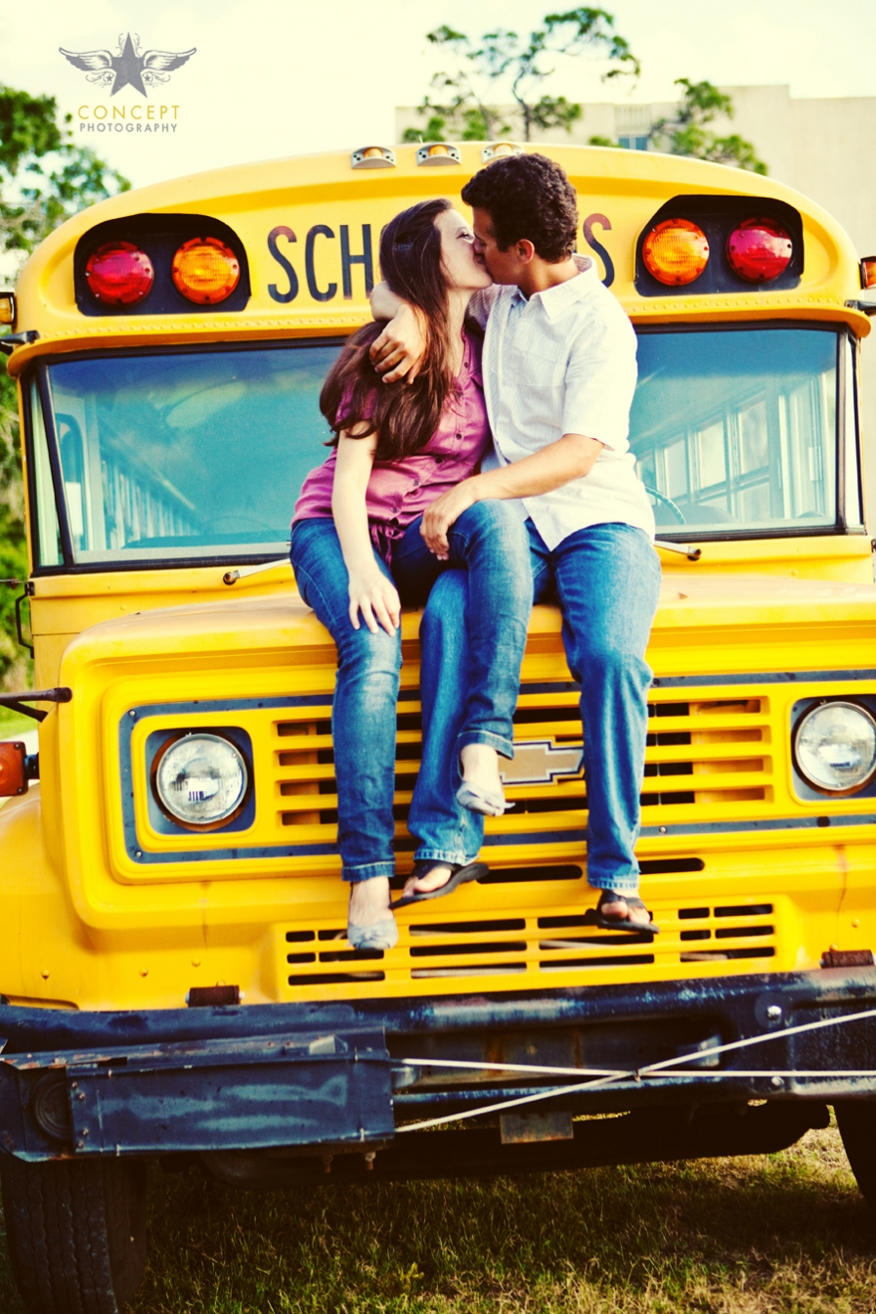 Best Photography Schools >> Fun School Bus Engagement Session - Concept Photography