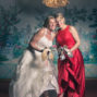 fun shot of the bride with her bridemaid