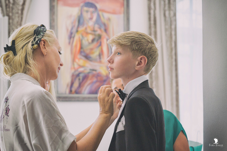Getting Ready Bride and Son