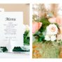 Detail photos of a plain White menu and florals.