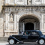 old car is stopping in front of viseu cathedral