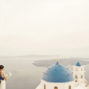 blue dome elopement photo in santa irene santorini